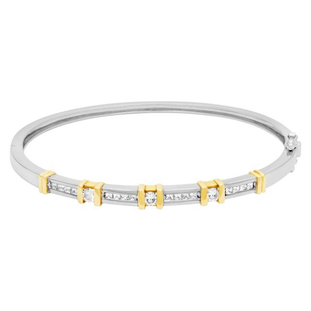 Diamond bangle in 14k white & yellow gold. 0.72 carats in diamonds image 1