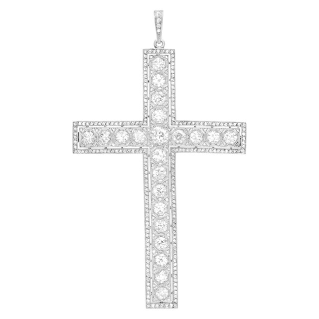 Timeless diamond cross pendant in platinum with total diamond weight 5.5 carats image 1