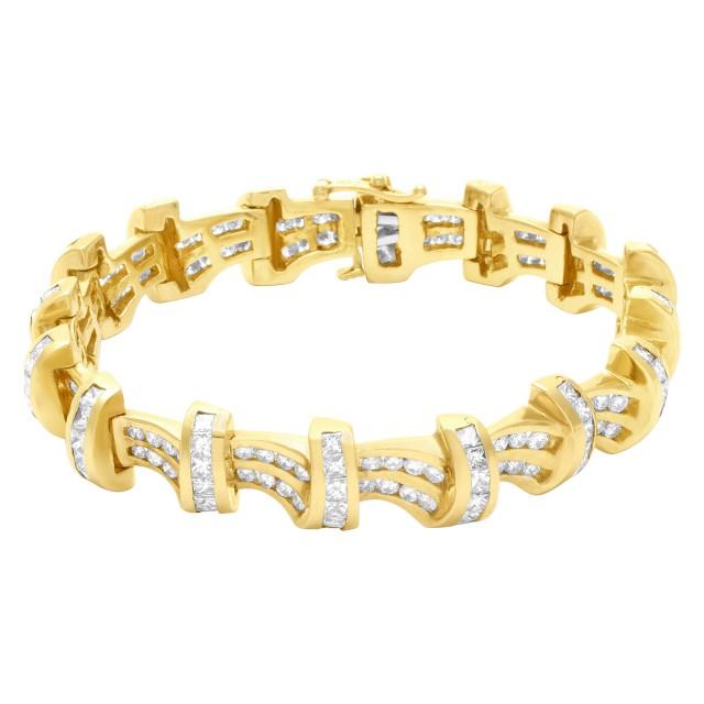 Diamond bracelet in 14k with 9.4 carats round & princess cut diamonds image 1