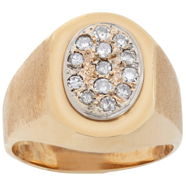 Pave diamond signet ring. 0.35 cts in diamonds. Size 9.5 image 1