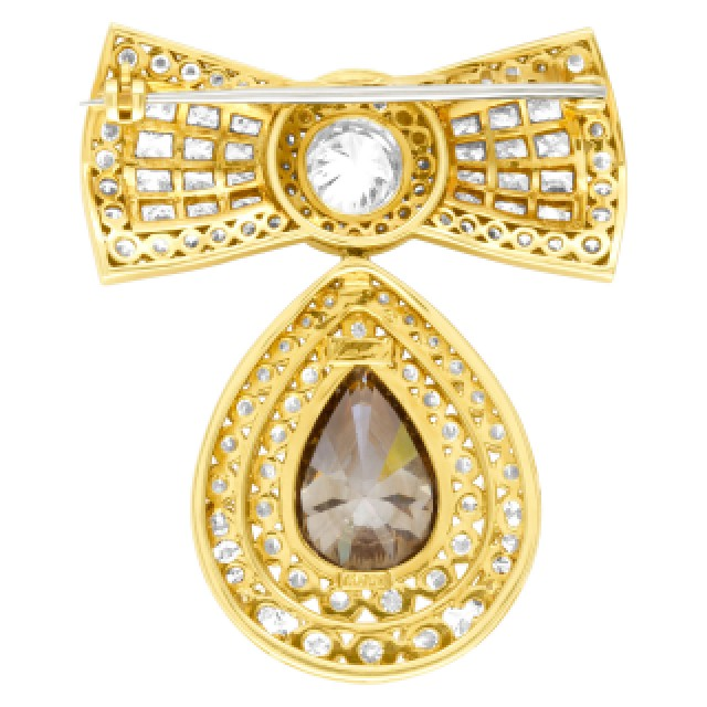 Kutchinsky diamond bow pin in 18k. GIA Certified. Total diamond weight 13.8 carats. image 4