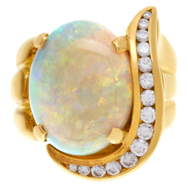 Opal and diamond ring in 18k (0.50ct in diamond accents) Size: 6.75 image 1