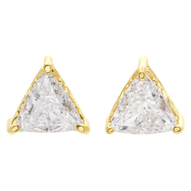 GIA certified triangular cut diamond studs1.51 cts (I color, I1 clarity) &1.59 cts (G color, SI2 clarity) image 1