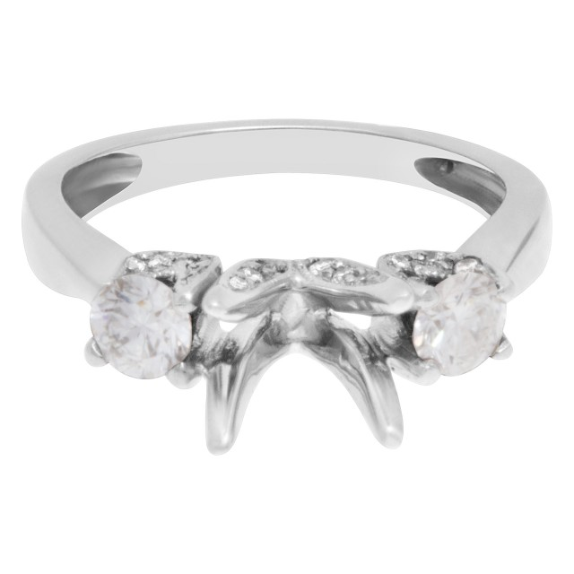 Diamond setting with 2 side diamonds in 18k white gold image 1