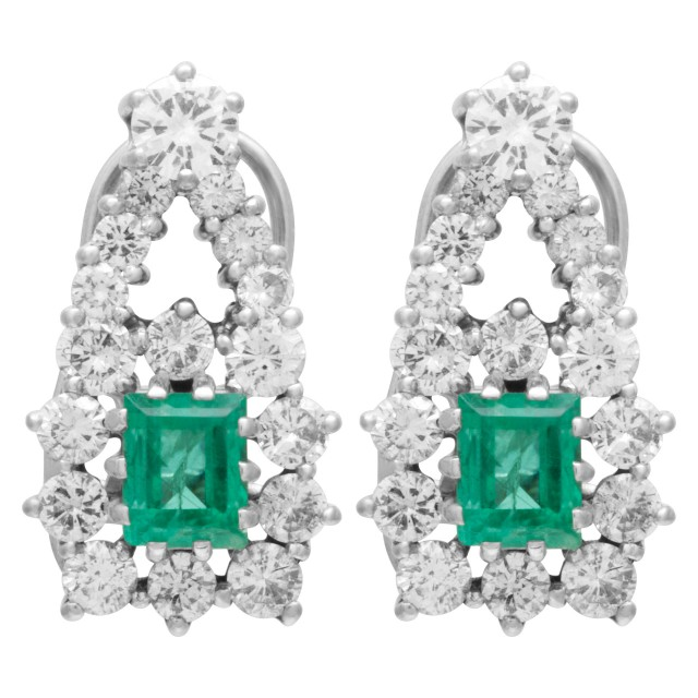 Diamond and colombian emerald earrings in 14k white gold image 1