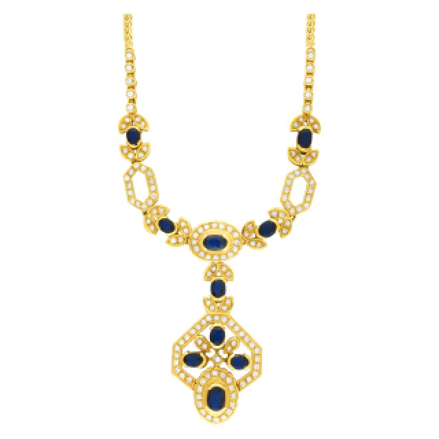 Oval dark blue sapphire & diamond set necklace, earrings, bracelet (5.7 carats) image 2