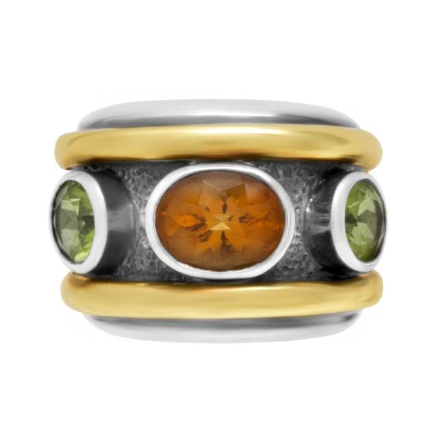 David Yurman Renaissance ring in 14k yellow gold & sterling silver with citrine & peridot image 1