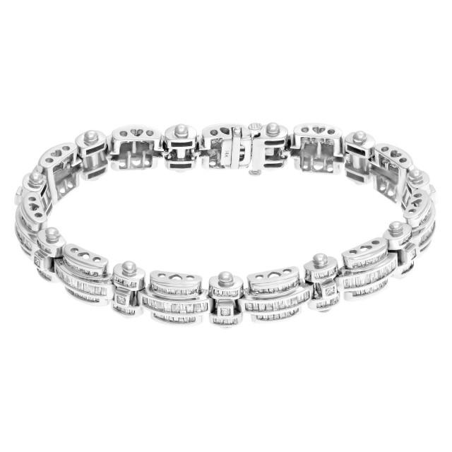 Diamond link bracelet in 14k white gold. Approximately 8.0 carats in diamonds. image 1
