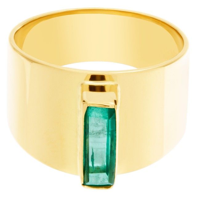Guayasmin Emerald ring set in 18k yellow gold image 1