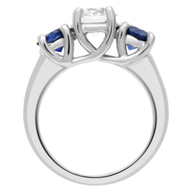 GIA certified round brilliant cut diamond 1.01 carat (H color, VS1 clarity) ring with 2 sapphires set in platinum. image 3