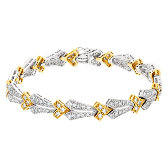 18k Yellow gold and Diamond bracelet with 2 carats in diamonds image 1