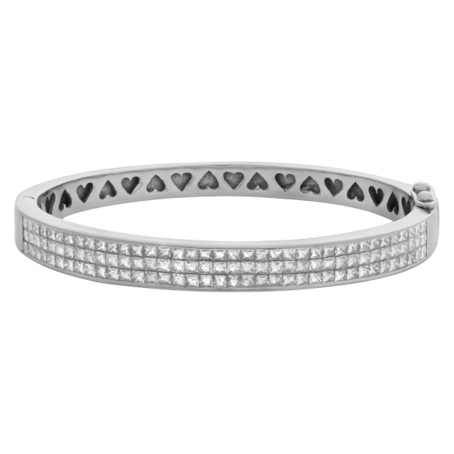 Princess cut diamond bangle 18k white gold apprx. 3 carats image 1