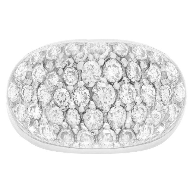 18k white gold pave diamonds & crystal dome ring image 1