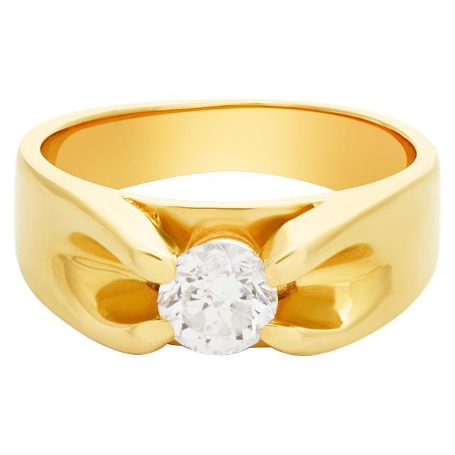 Round brilliant cut diamond 0.90 ct set in 14K yellow gold. image 1