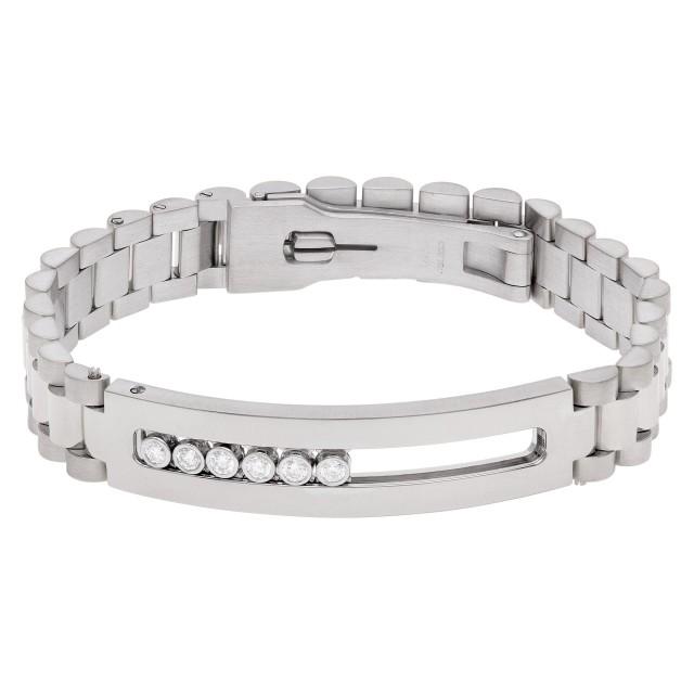 Mens 14k white gold bracelet with 6 floating diamonds. image 1