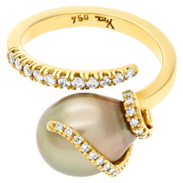 South Sea pearl ring with diamond accents in 18k gold image 1