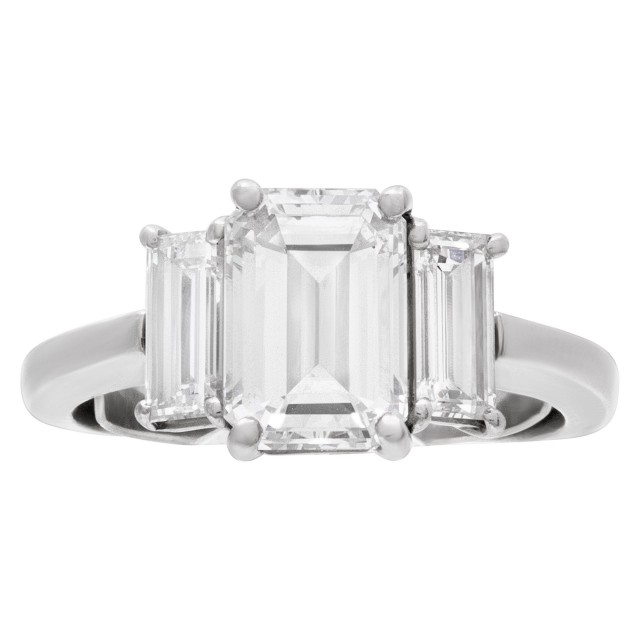 GIA certified 2.02 carats emerald cut diamond ring in platinum (E color, VVS2 clarity) image 1
