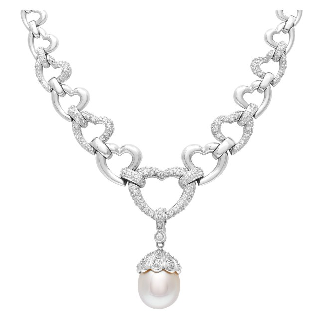 Elegant necklace in 14k white gold with diamond accents and 12mm pearl image 1