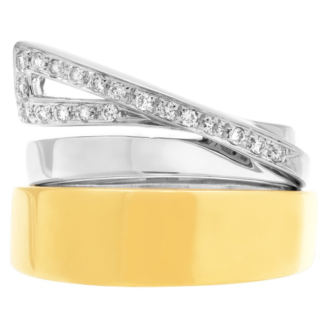 Interesting ring in 18k white and yellow gold with diamond swirl image 1