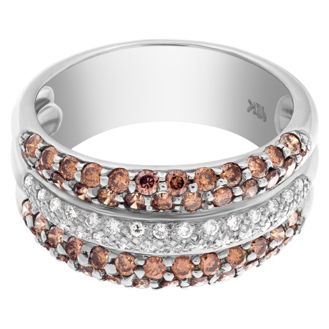 Chocolate brown and white diamond band in 18k white gold image 1