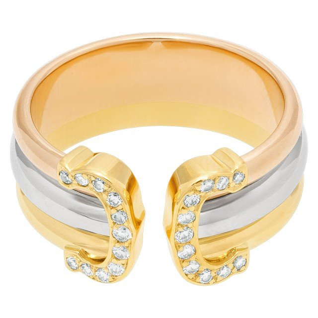 Cartier double C diamond ring in tri-color gold with approximately 0.25 carat image 1
