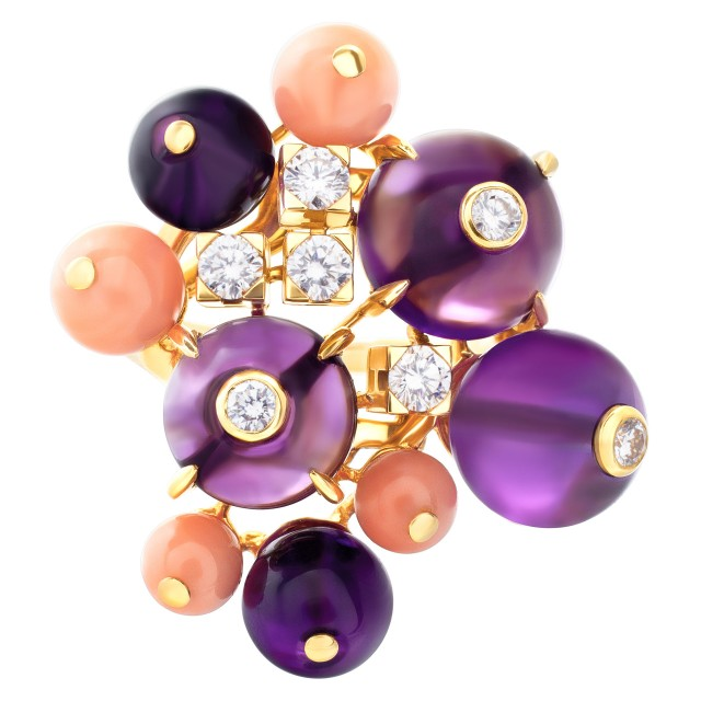 Cartier Delices de Goa ring in 18k with diamonds, amethyst and coral image 1