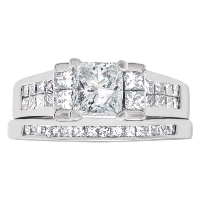 GIA certified rectangular modified brilliant 1.01 carat diamond (F color, I3 clarity) ring image 1