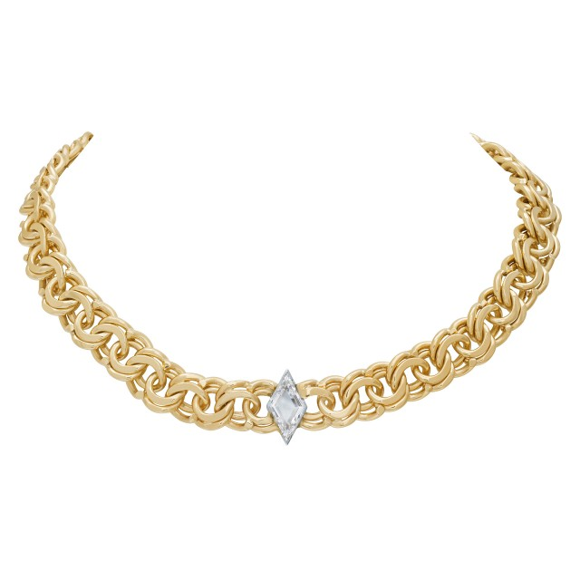 "Elegant 14k Yellow Chain Necklace Choker With ""Kite"" Cut Diamond 1.36 Ct image 1"
