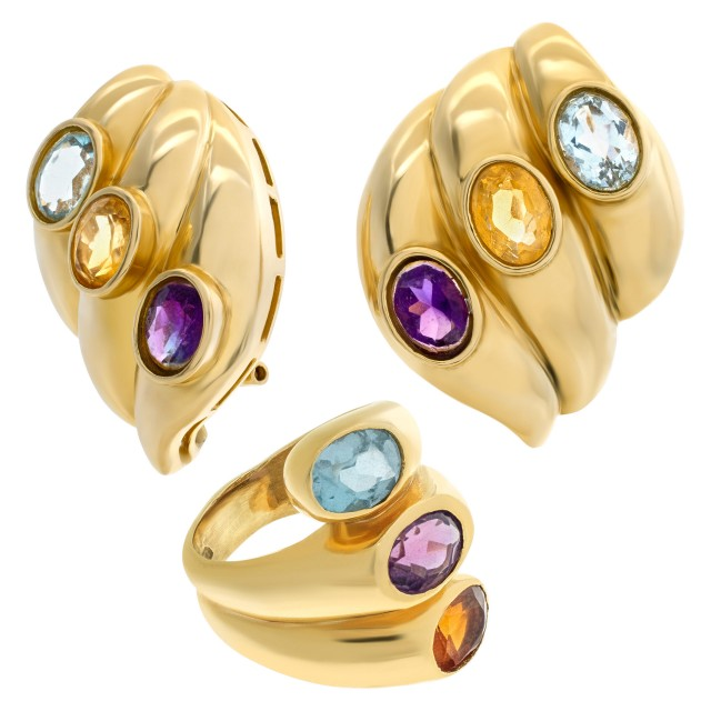 Swirled gold earrings and ring set in 14k with topaz, amethyst & citrine image 1