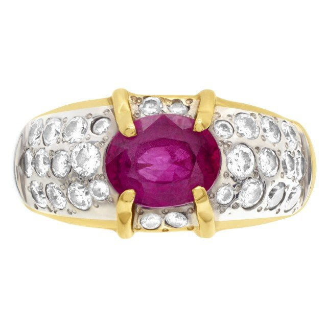 Ladies 2ct pink sapphire ring with diamond accents in 18k gold image 1