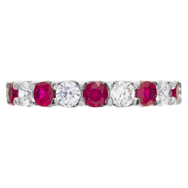 "Diamonds & Rubies ""Eternity"" band in 18k white gold image 1"