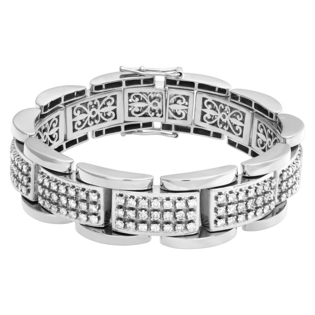 Heavy and wide diamond bracelet, over 8 cts in H-I color SI clatity diamonds image 1