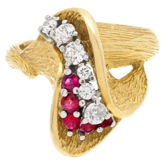 Tulip design ruby & diamond ring in 18k yellow gold image 1