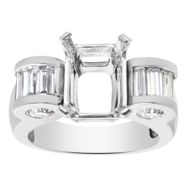 Unusual Setting for approx 2 to 2 1/2 carat Emerald cut stone in Platinum with approx 1 carat round and bsaguette cut stone. image 1
