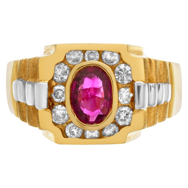 """President"" style ring with oval ruby center accented with approximately 0.35 cts in diamonds image 1"