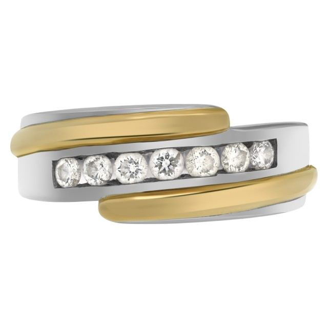 """Lucky Seven""  diamonds weding band. Seven full cut round  brilliant diamonds set in 14K white & yellow gold. image 1"