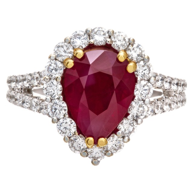 Burma ruby and diamond ring in 18k white gold image 1