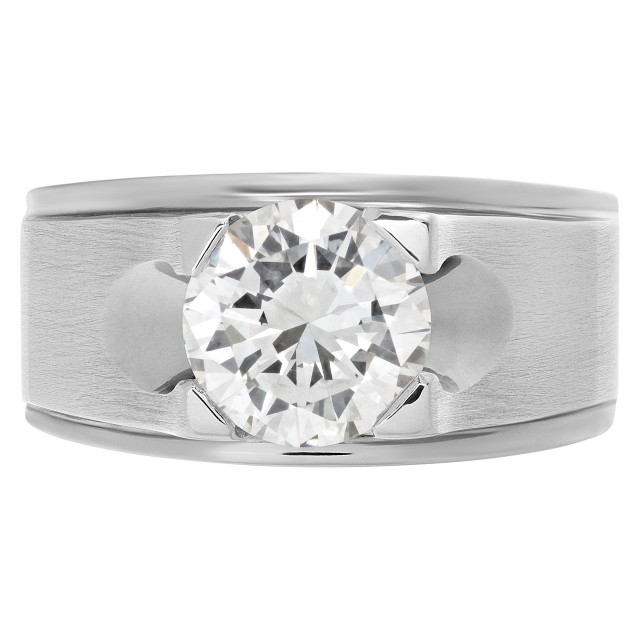 GIA certified 2.01 carat (K color, VVS2 clarity) round brilliant cut diamond in an 18k white gold Gypsy setting. image 1