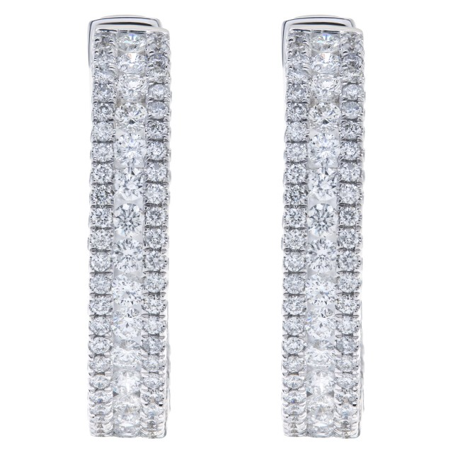 Diamond hoop earrings with 3.66 carats in diamonds in 14k white gold image 1