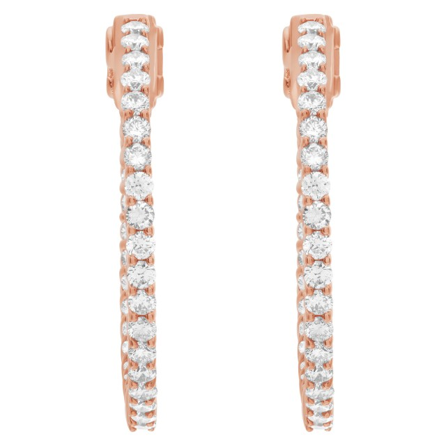 """""""Inside/out"""" 14k rose gold hoop earrings with 1.65 carats in diamonds image 1"""