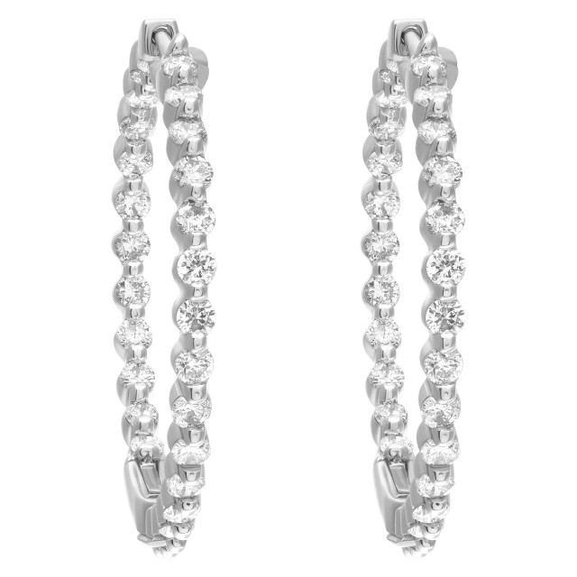 Timeless & classic Inside/Out hoop earrings in 14k white gold image 1