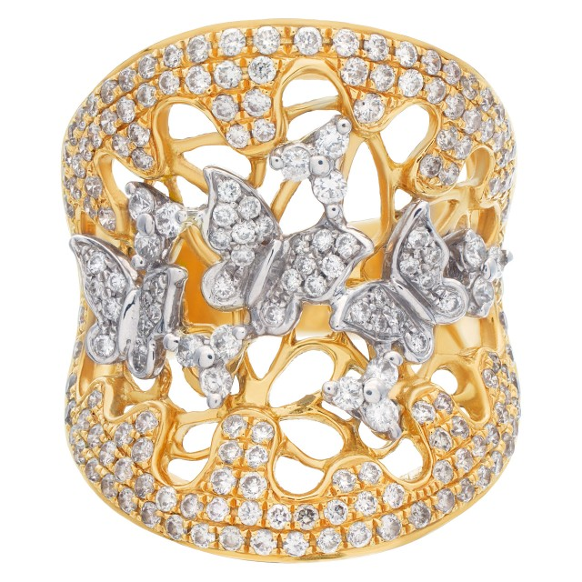 Beautiful cocktail ring with butterfly cutouts floating in a garden of pave diamonds. image 1