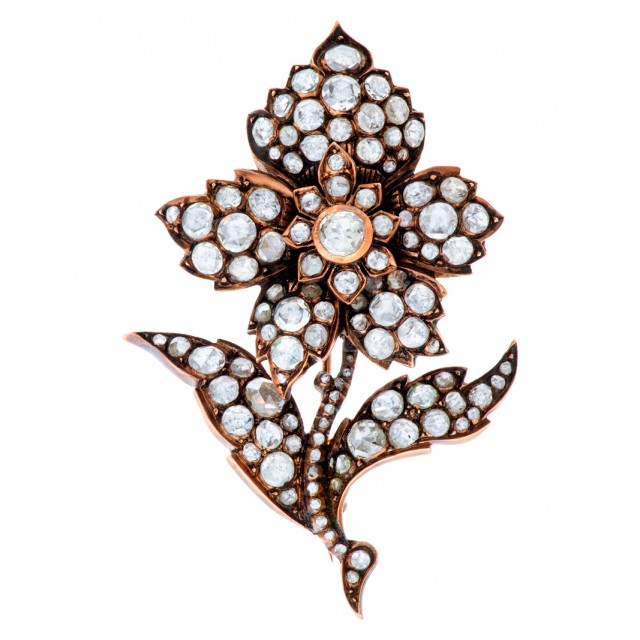 Victorian flower brooch in 14K rose gold with over 4 carats in rose cut diamonds image 1