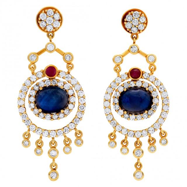 Drop earrings in 18k with diamond, sapphires & rubies image 1