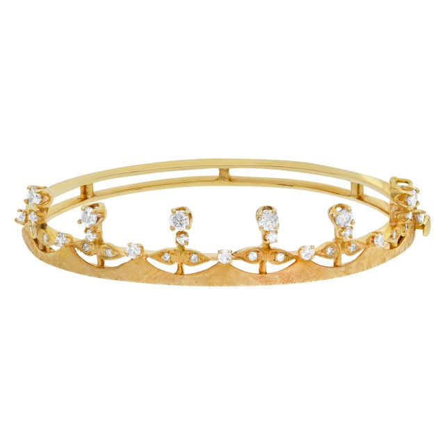 Vintage diamond bangle with crown design in 14k yellow gold image 1