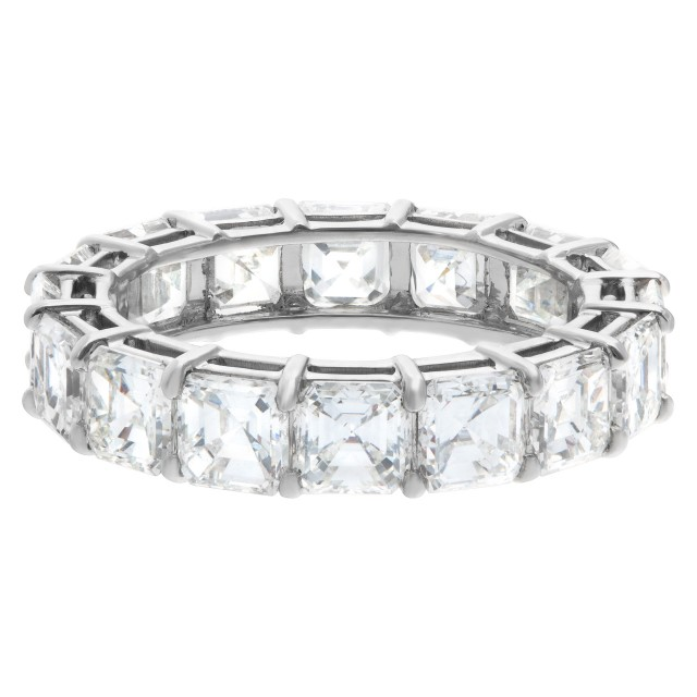 Diamond Eternity Band and Ring Asscher cut in platinum, 4.62 carats image 1