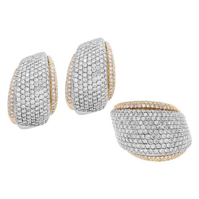 Giorgio Viscoti earring & ring set in 18k white & yellow gold image 1
