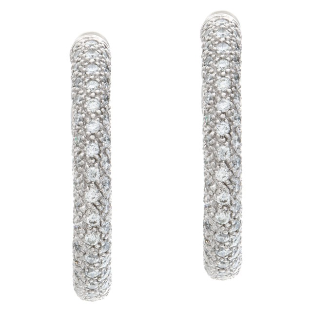 Inside-out pave diamonds hoop earrings set in 18k white gold with approximately 11.60 carats image 1