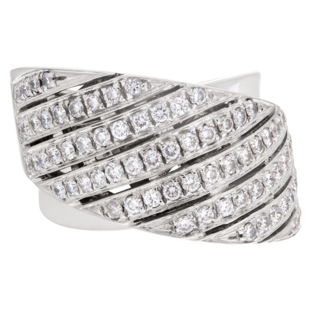 "Contemporary design wide ""crisscross"" ring with 1.50 carat pave diamonds set in 18K white gold. image 1"