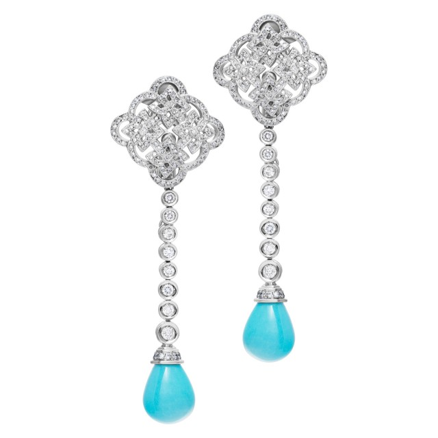 Tear drop Persian turquoise & diamonds earrings with over 2 carats diamonds set in 18K white gold. image 1